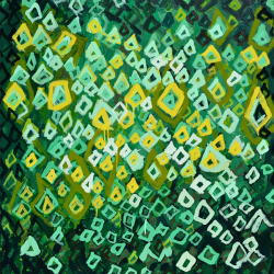 Green, yellow, and white painting