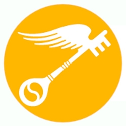 Scholastic art and writing awards logo of winged key in front of orange circular background