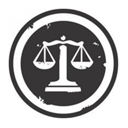 Scales of justice in white on black circular background with black circle around
